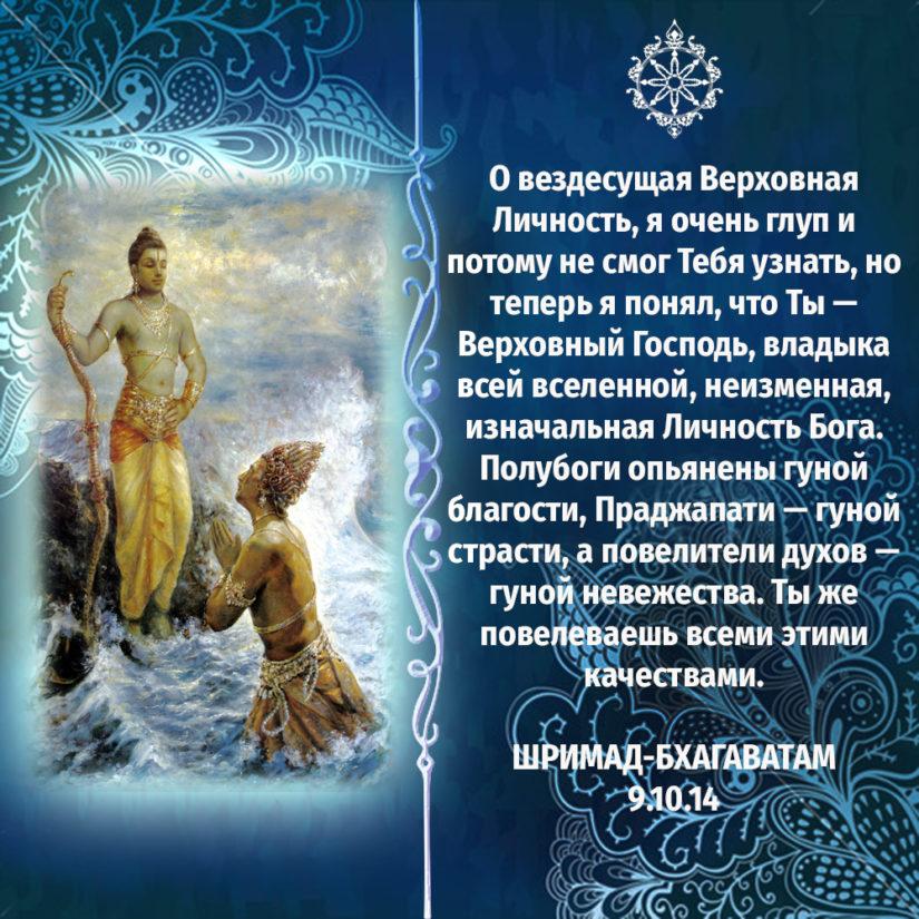 О вездесущая Верховная Личность, я очень глуп и потому не смог Тебя узнать, но теперь я понял, что Ты — Верховный Господь, владыка всей вселенной, неизменная, изначальная Личность Бога. Полубоги опьянены гуной благости, Праджапати — гуной страсти, а повелители духов — гуной невежества. Ты же повелеваешь всеми этими качествами.
