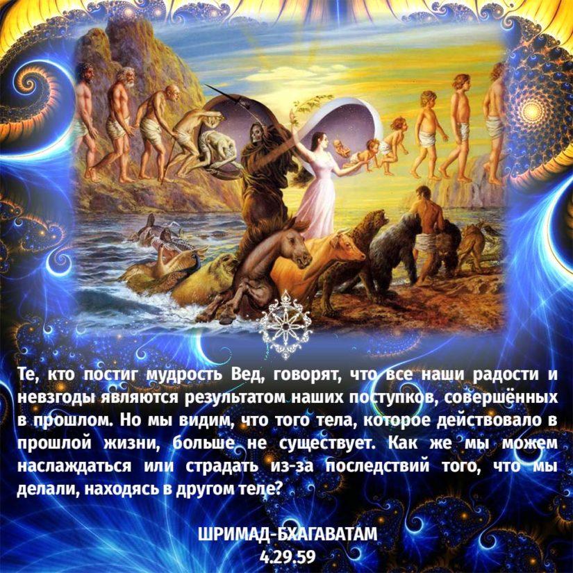 Те, кто постиг мудрость Вед, говорят, что все наши радости и невзгоды являются результатом наших поступков, совершённых в прошлом. Но мы видим, что того тела, которое действовало в прошлой жизни, больше не существует. Как же мы можем наслаждаться или страдать из-за последствий того, что мы делали, находясь в другом теле?