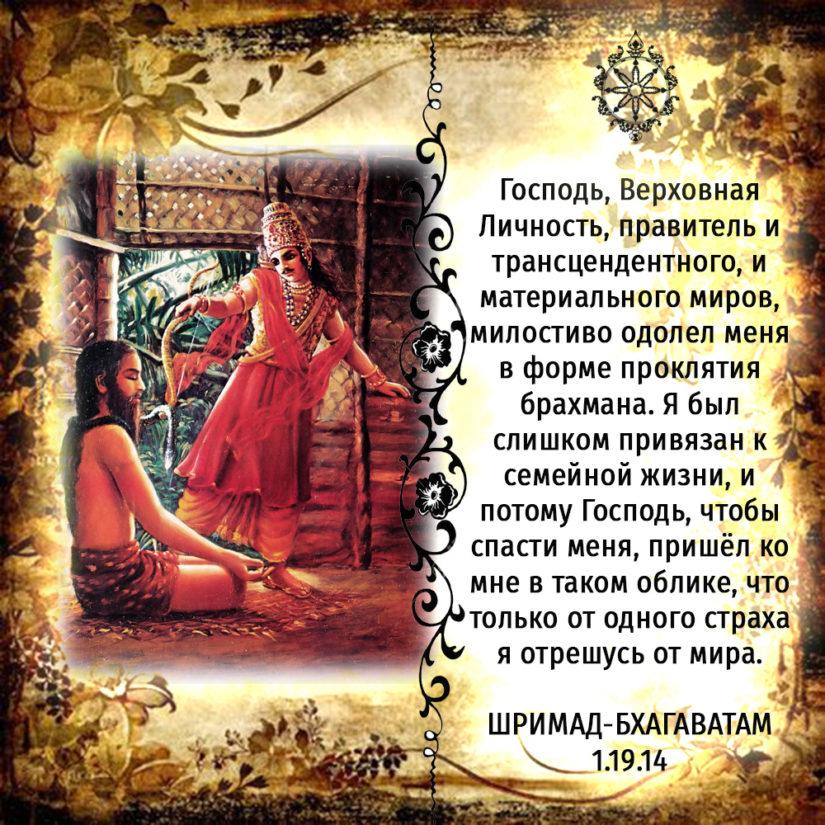 Господь, Верховная Личность, правитель и трансцендентного, и материального миров, милостиво одолел меня в форме проклятия брахмана. Я был слишком привязан к семейной жизни, и потому Господь, чтобы спасти меня, пришёл ко мне в таком облике, что только от одного страха я отрешусь от мира.