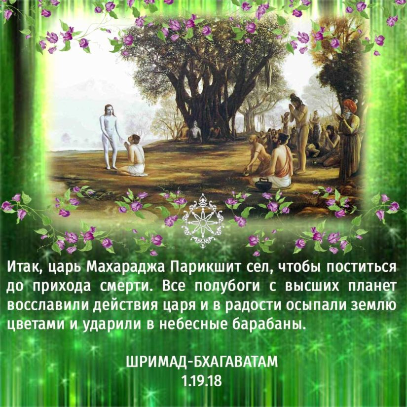 Итак, царь Махараджа Парикшит сел, чтобы поститься до прихода смерти. Все полубоги с высших планет восславили действия царя и в радости осыпали землю цветами и ударили в небесные барабаны.