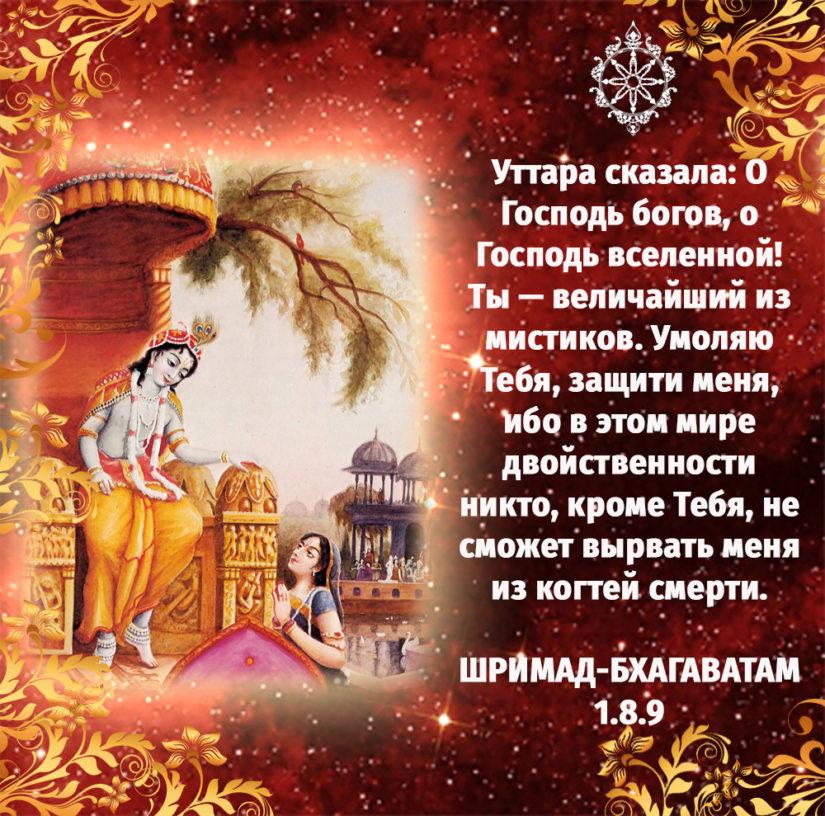 Уттара сказала: О Господь богов, о Господь вселенной! Ты — величайший из мистиков. Умоляю Тебя, защити меня, ибо в этом мире двойственности никто, кроме Тебя, не сможет вырвать меня из когтей смерти.