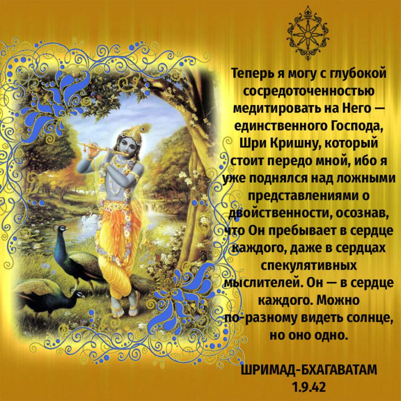 Теперь я могу с глубокой сосредоточенностью медитировать на Него — единственного Господа, Шри Кришну, который стоит передо мной, ибо я уже поднялся над ложными представлениями о двойственности, осознав, что Он пребывает в сердце каждого, даже в сердцах спекулятивных мыслителей. Он — в сердце каждого. Можно по-разному видеть солнце, но оно одно.