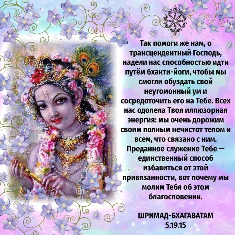 Так помоги же нам, о трансцендентный Господь, надели нас способностью идти путём бхакти-йоги, чтобы мы смогли обуздать свой неугомонный ум и сосредоточить его на Тебе. Всех нас одолела Твоя иллюзорная энергия: мы очень дорожим своим полным нечистот телом и всем, что связано с ним. Преданное служение Тебе — единственный способ избавиться от этой привязанности, вот почему мы молим Тебя об этом благословении.