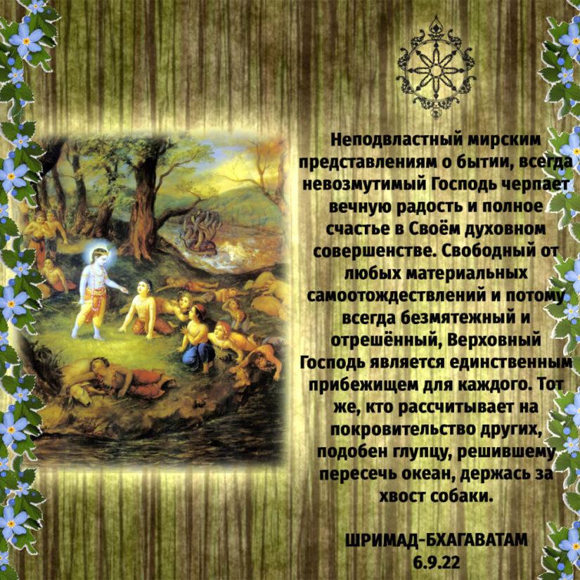 Неподвластный мирским представлениям о бытии, всегда невозмутимый Господь черпает вечную радость и полное счастье в Своём духовном совершенстве. Свободный от любых материальных самоотождествлений и потому всегда безмятежный и отрешённый, Верховный Господь является единственным прибежищем для каждого. Тот же, кто рассчитывает на покровительство других, подобен глупцу, решившему пересечь океан, держась за хвост собаки.