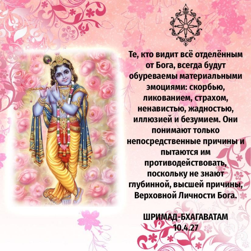Те, кто видит всё отделённым от Бога, всегда будут обуреваемы материальными эмоциями: скорбью, ликованием, страхом, ненавистью, жадностью, иллюзией и безумием. Они понимают только непосредственные причины и пытаются им противодействовать, поскольку не знают глубинной, высшей причины, Верховной Личности Бога.