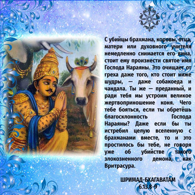 С убийцы брахмана, коровы, отца, матери или духовного учителя немедленно снимается его вина, стоит ему произнести святое имя Господа Нараяны. Это очищает от греха даже того, кто стоит ниже шудры, — даже собакоеда и чандала. Ты же — преданный, и ради тебя мы устроим великое жертвоприношение коня. Чего тебе бояться, если ты обретёшь благосклонность Господа Нараяны? Даже если бы ты истребил целую вселенную с брахманами вместе, то и это простилось бы тебе, не говоря уже об убийстве такого злокозненного демона, как Вритрасура.