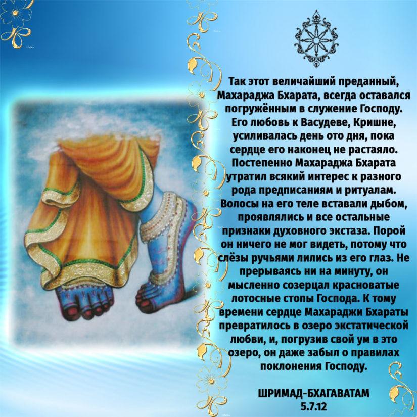 Так этот величайший преданный, Махараджа Бхарата, всегда оставался погружённым в служение Господу. Его любовь к Васудеве, Кришне, усиливалась день ото дня, пока сердце его наконец не растаяло. Постепенно Махараджа Бхарата утратил всякий интерес к разного рода предписаниям и ритуалам. Волосы на его теле вставали дыбом, проявлялись и все остальные признаки духовного экстаза. Порой он ничего не мог видеть, потому что слёзы ручьями лились из его глаз. Не прерываясь ни на минуту, он мысленно созерцал красноватые лотосные стопы Господа. К тому времени сердце Махараджи Бхараты превратилось в озеро экстатической любви, и, погрузив свой ум в это озеро, он даже забыл о правилах поклонения Господу.