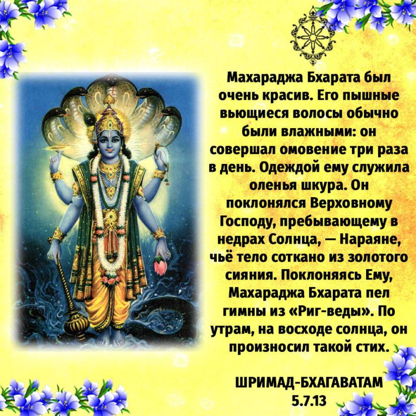 Махараджа Бхарата был очень красив. Его пышные вьющиеся волосы обычно были влажными: он совершал омовение три раза в день. Одеждой ему служила оленья шкура. Он поклонялся Верховному Господу, пребывающему в недрах Солнца, — Нараяне, чьё тело соткано из золотого сияния. Поклоняясь Ему, Махараджа Бхарата пел гимны из «Риг-веды». По утрам, на восходе солнца, он произносил такой стих.